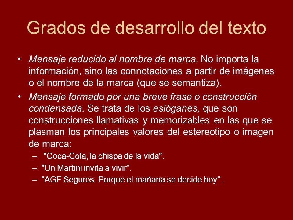 Grados de desarrollo del texto