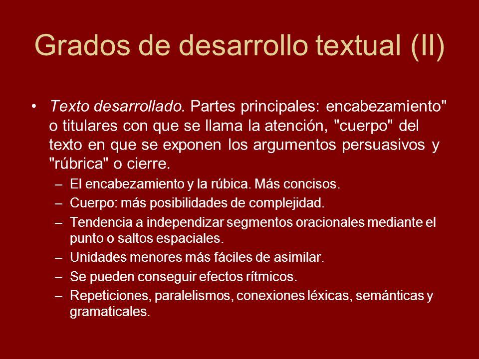Grados de desarrollo textual (II)
