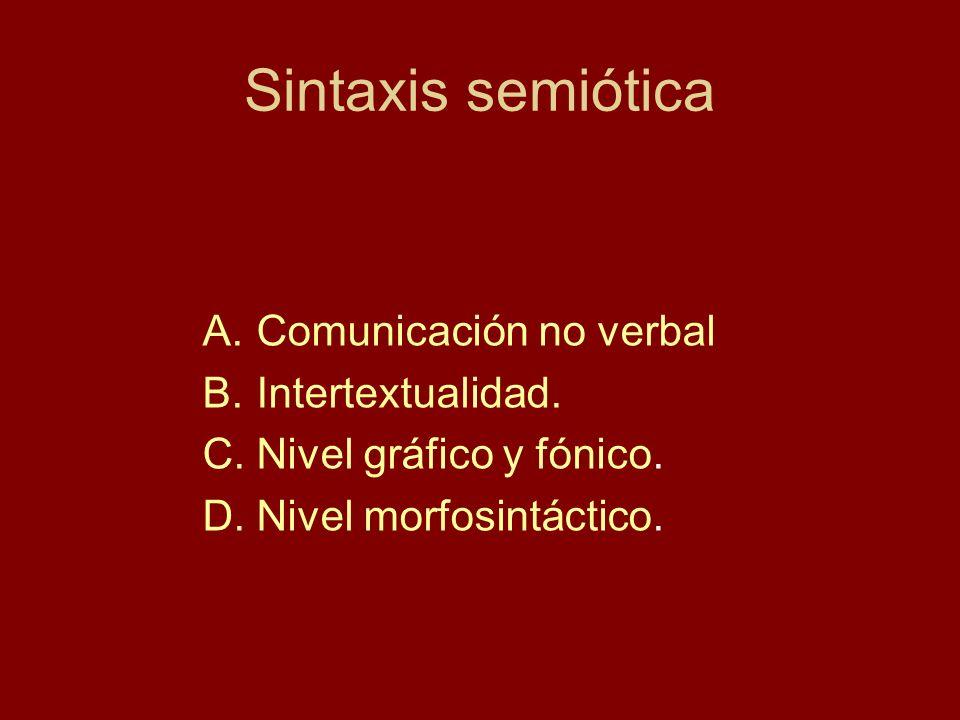 Sintaxis semiótica Comunicación no verbal Intertextualidad.