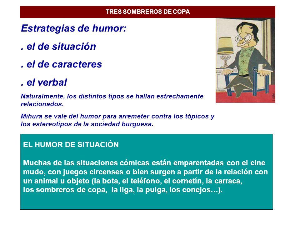Estrategias de humor: . el de situación . el de caracteres . el verbal