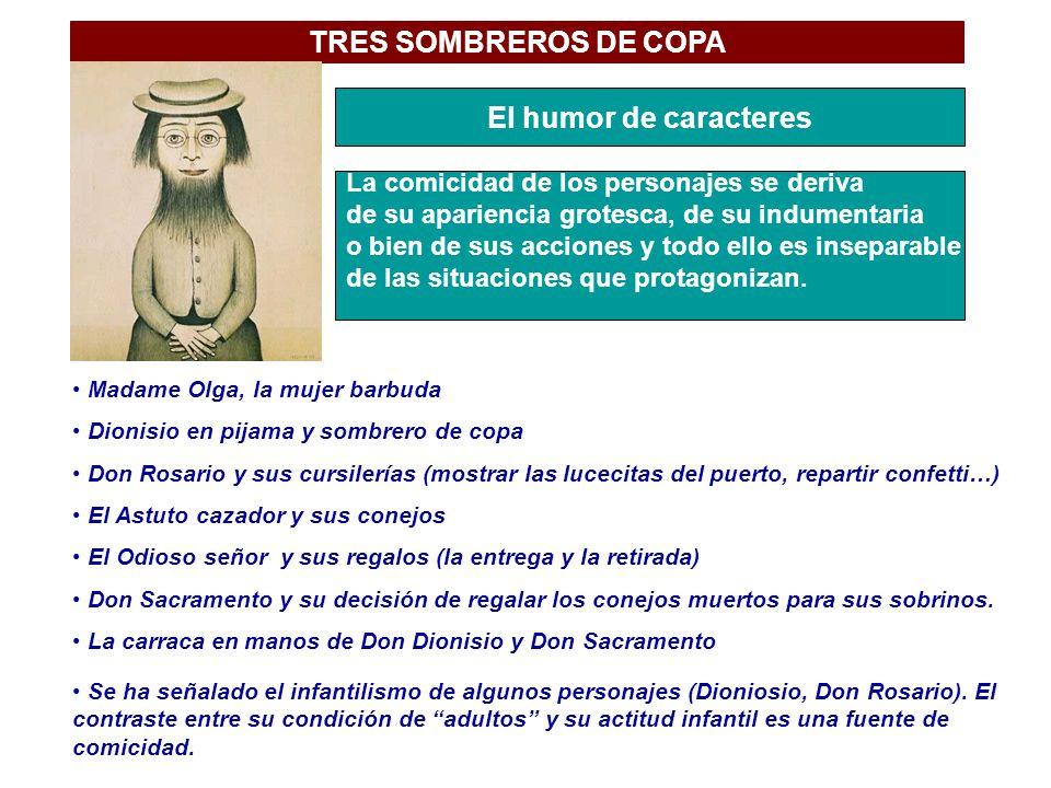 TRES SOMBREROS DE COPA El humor de caracteres