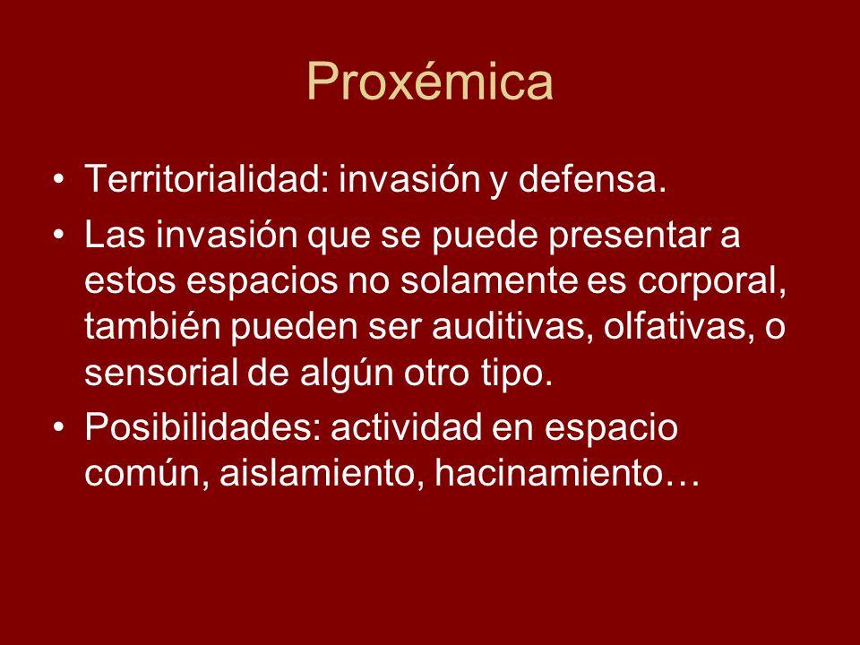 Proxémica Territorialidad: invasión y defensa.
