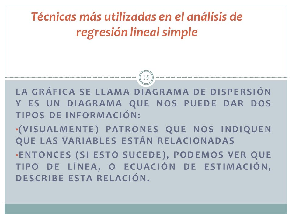 Técnicas más utilizadas en el análisis de regresión lineal simple