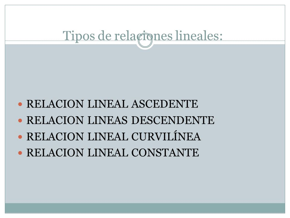 Tipos de relaciones lineales: