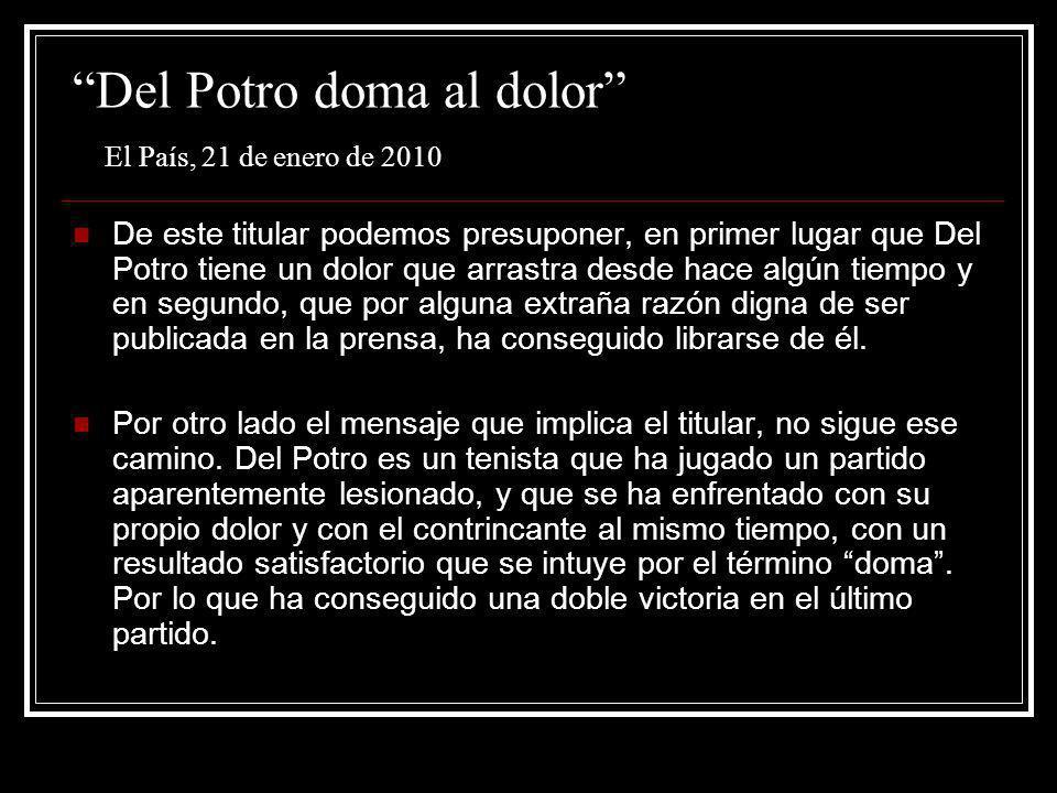 Del Potro doma al dolor El País, 21 de enero de 2010