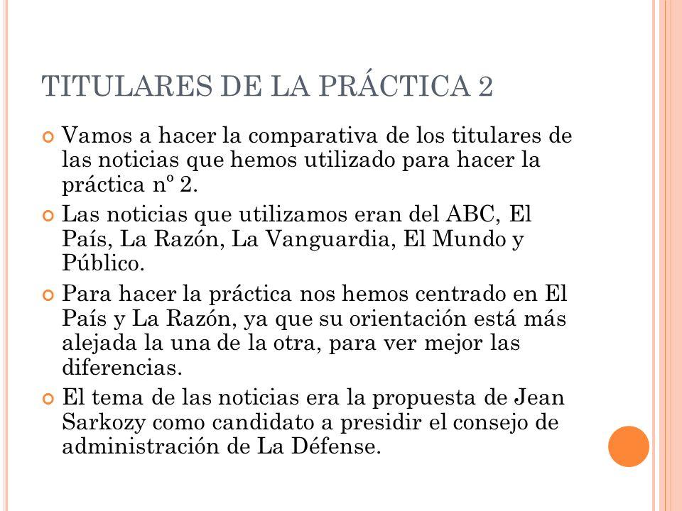 TITULARES DE LA PRÁCTICA 2