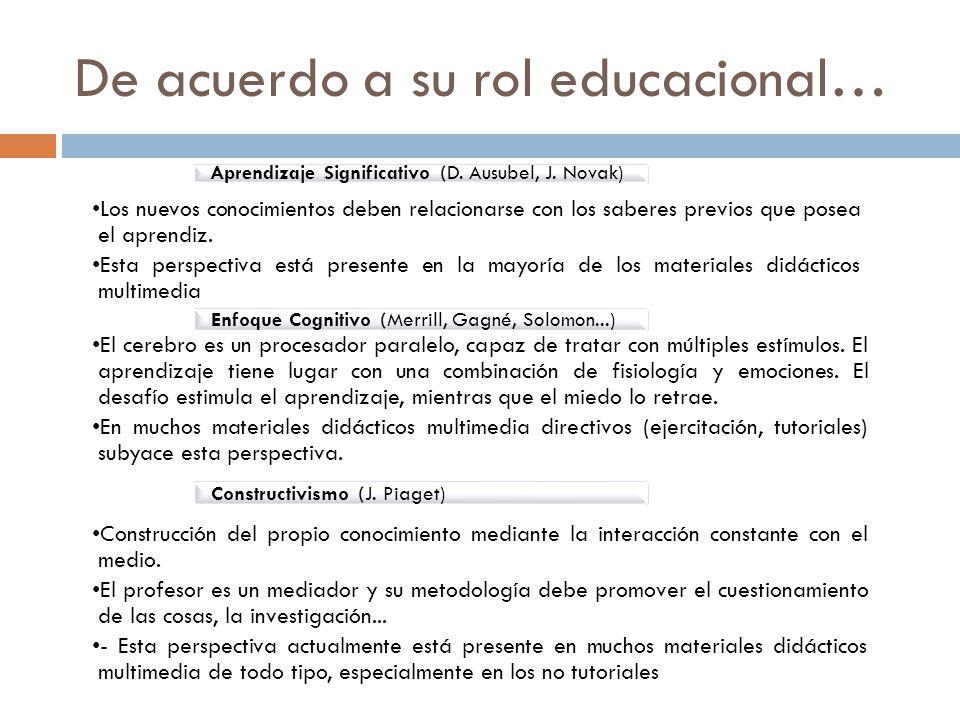 De acuerdo a su rol educacional…