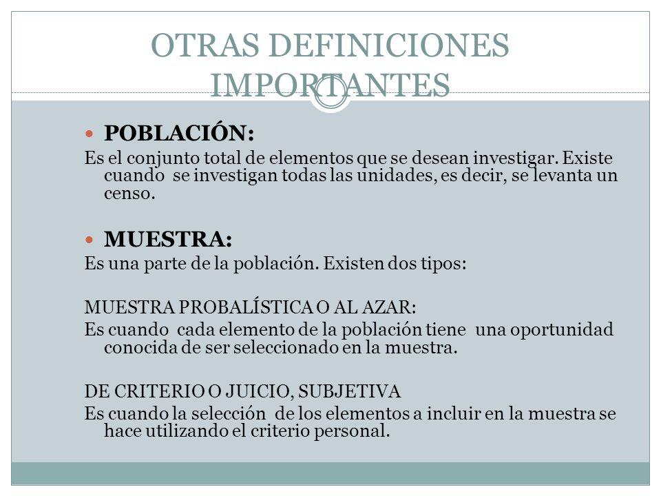 OTRAS DEFINICIONES IMPORTANTES