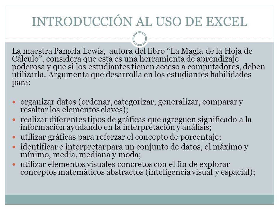 INTRODUCCIÓN AL USO DE EXCEL