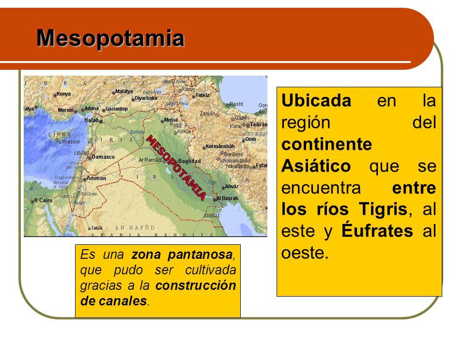 Mesopotamia Ubicada en la región del continente Asiático que se encuentra entre los ríos Tigris, al este y Éufrates al oeste.
