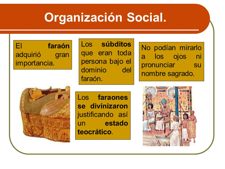 Organización Social. Los súbditos que eran toda persona bajo el dominio del faraón. El faraón adquirió gran importancia.