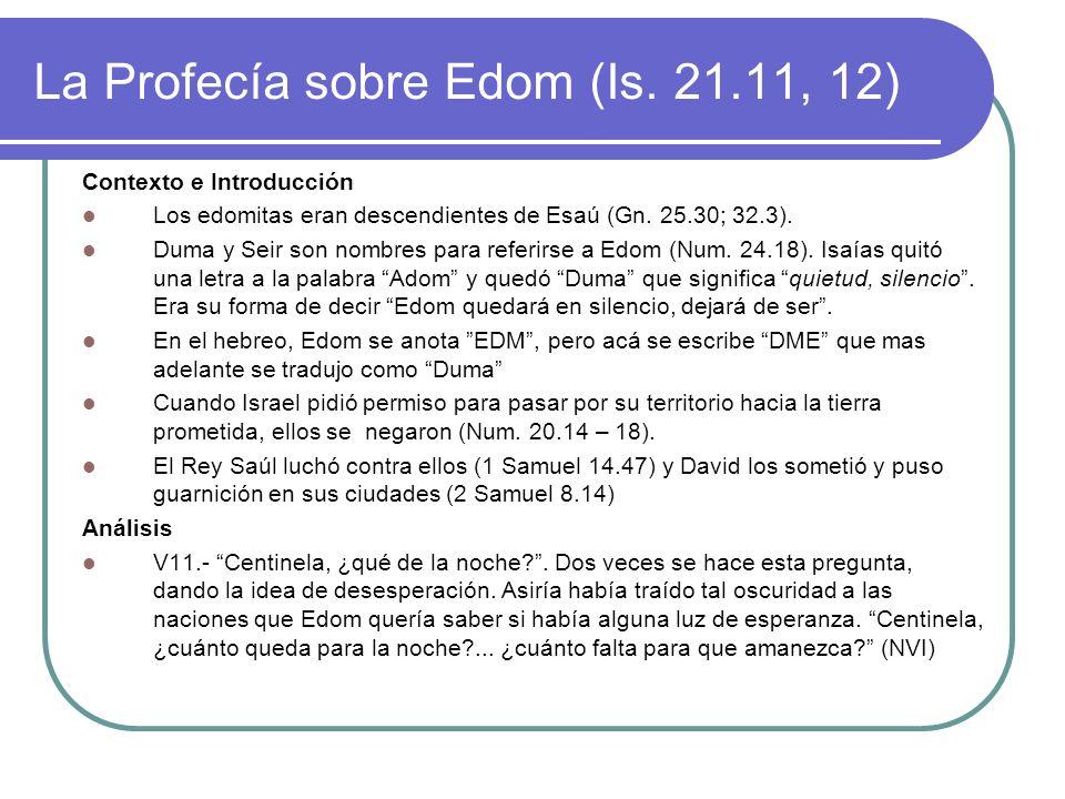 La Profecía sobre Edom (Is. 21.11, 12)