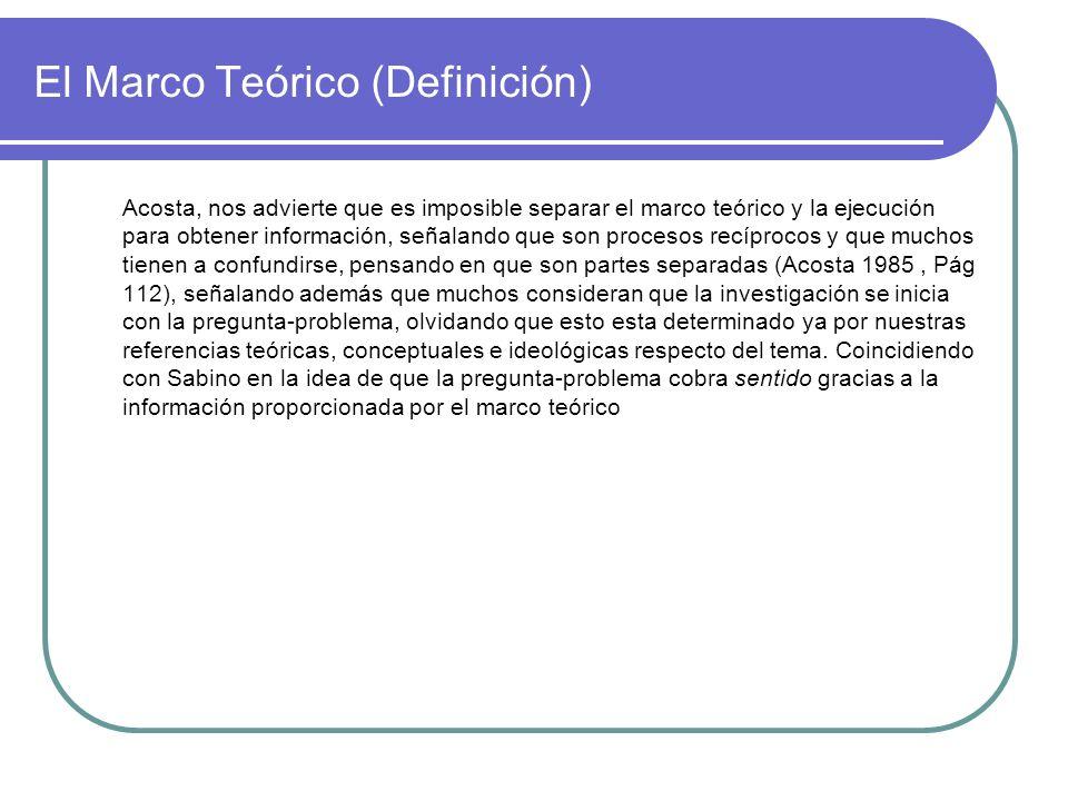 El Marco Teórico (Definición)