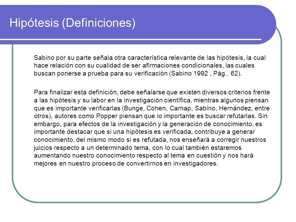 Hipótesis (Definiciones)