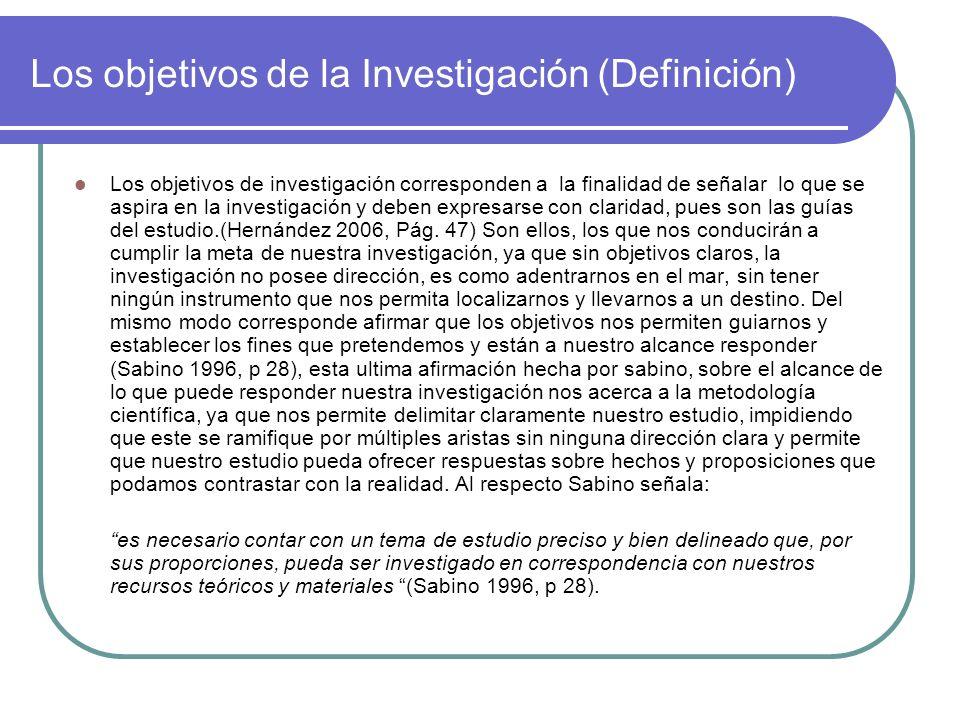Los objetivos de la Investigación (Definición)