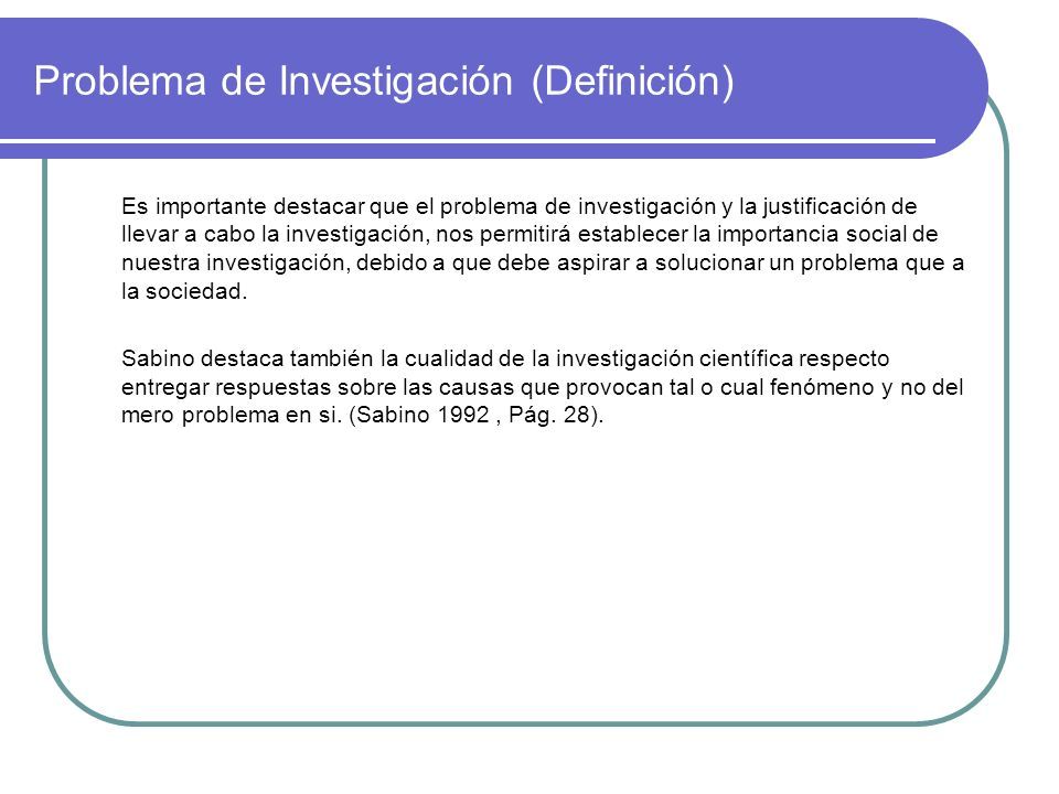 Problema de Investigación (Definición)