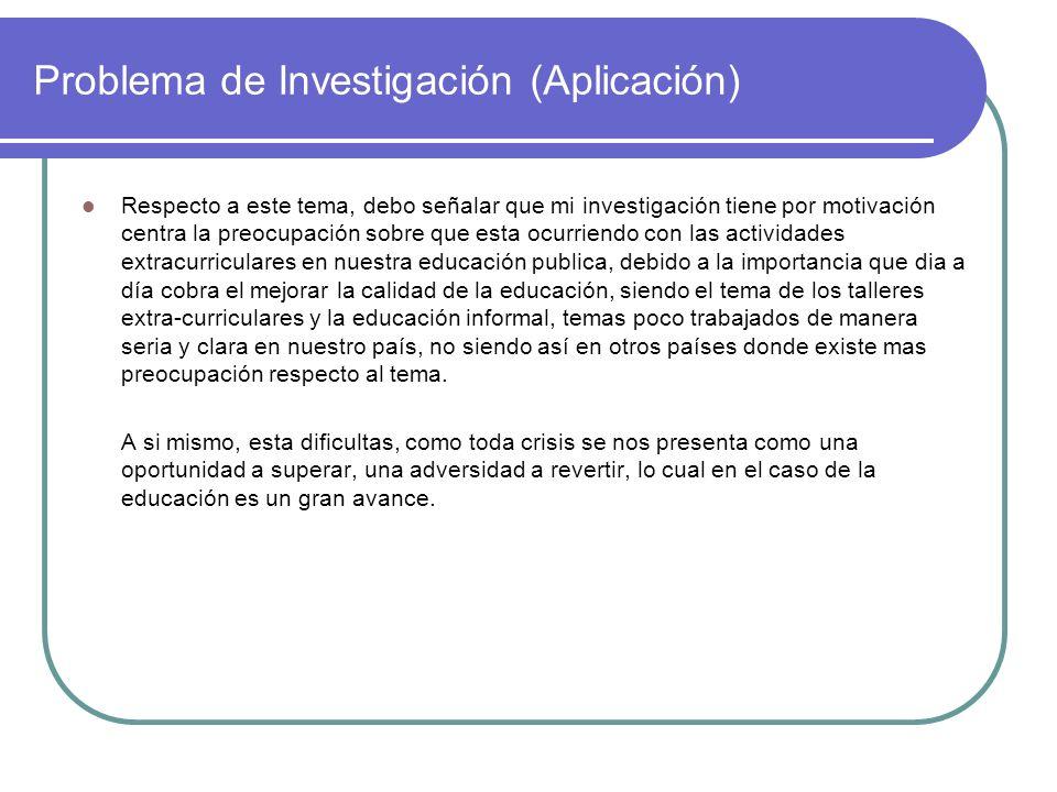 Problema de Investigación (Aplicación)