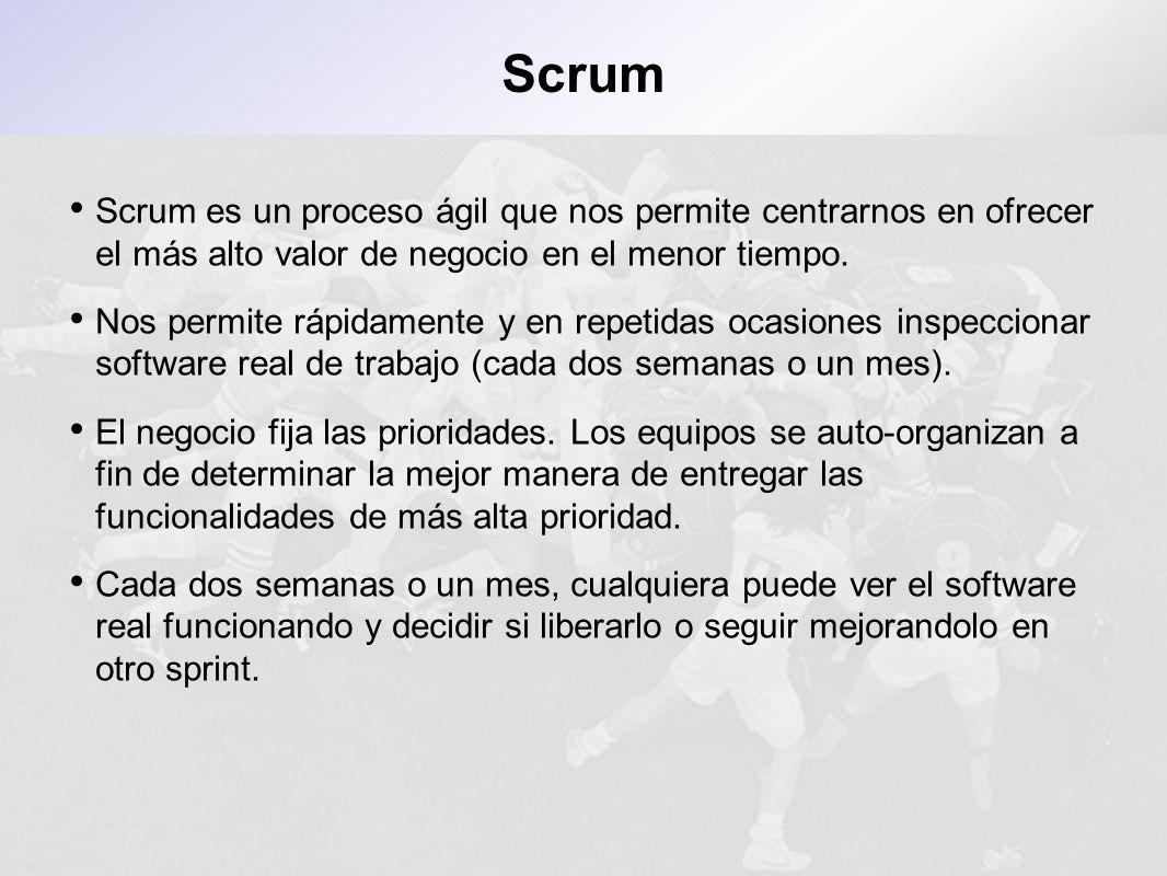ScrumScrum es un proceso ágil que nos permite centrarnos en ofrecer el más alto valor de negocio en el menor tiempo.