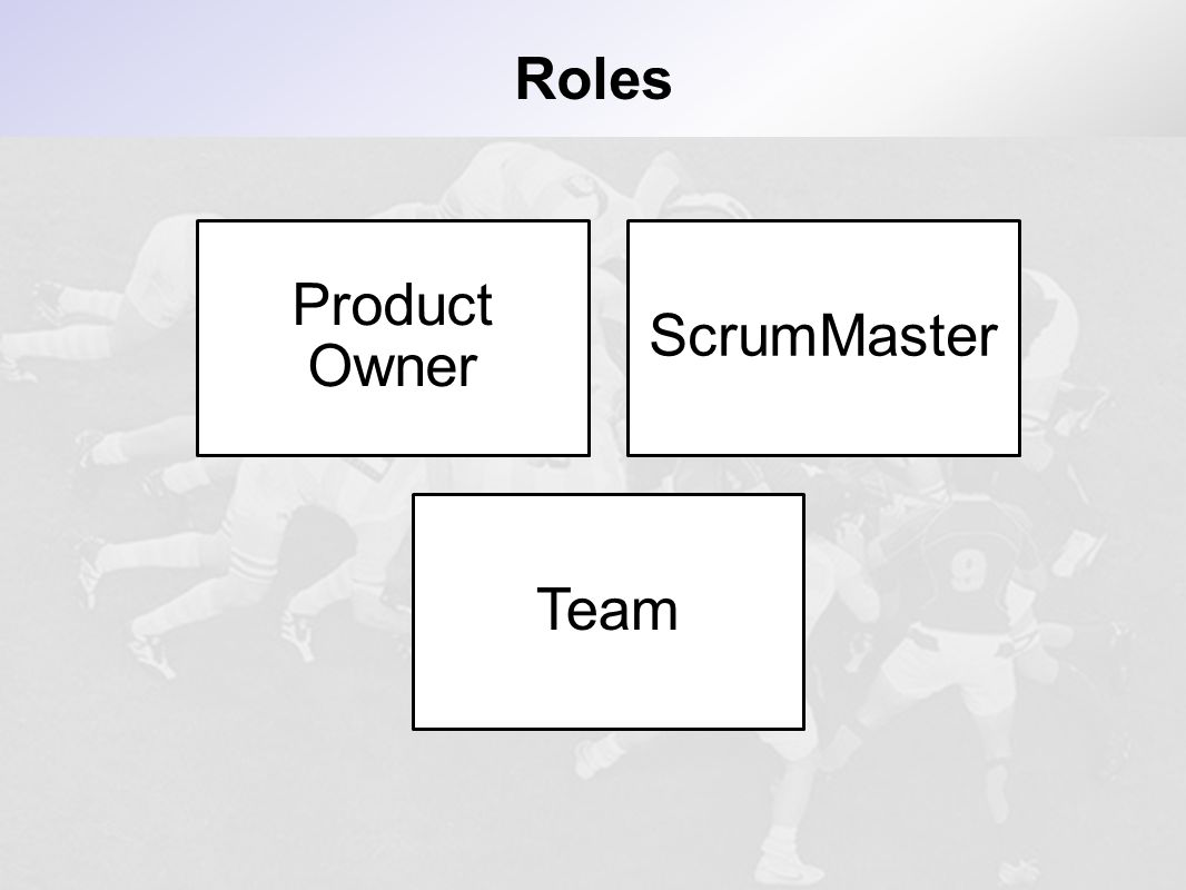 Roles Product Owner ScrumMaster Team