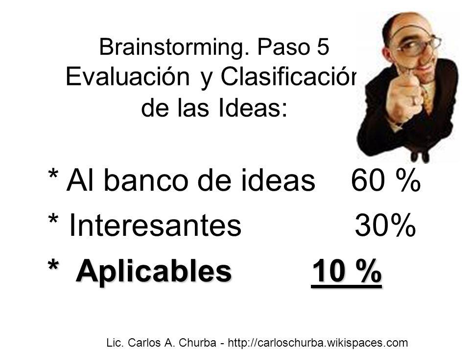 Brainstorming. Paso 5 Evaluación y Clasificación de las Ideas: