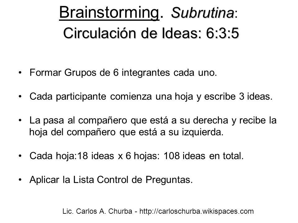 Brainstorming. Subrutina: Circulación de Ideas: 6:3:5