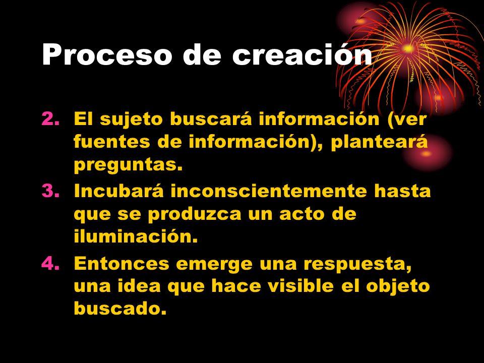 Proceso de creación El sujeto buscará información (ver fuentes de información), planteará preguntas.