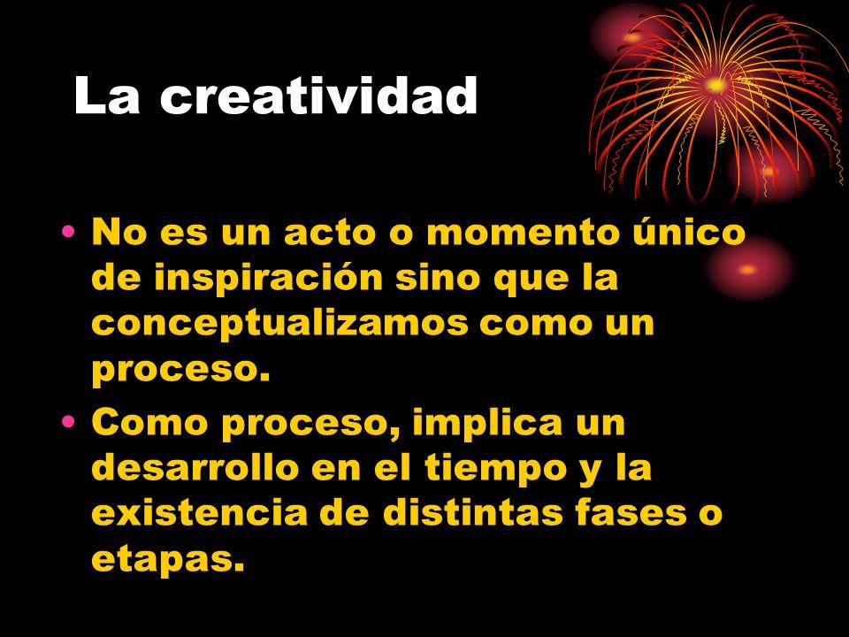 La creatividad No es un acto o momento único de inspiración sino que la conceptualizamos como un proceso.