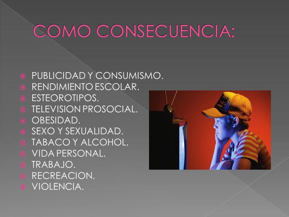 COMO CONSECUENCIA: PUBLICIDAD Y CONSUMISMO. RENDIMIENTO ESCOLAR.