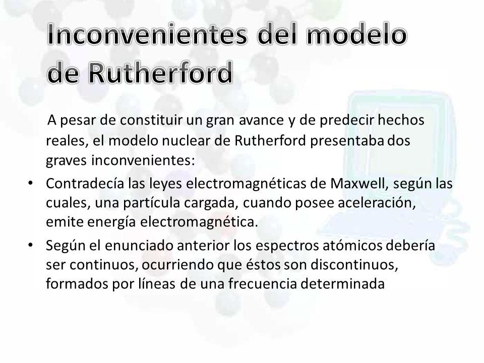 Inconvenientes del modelo de Rutherford