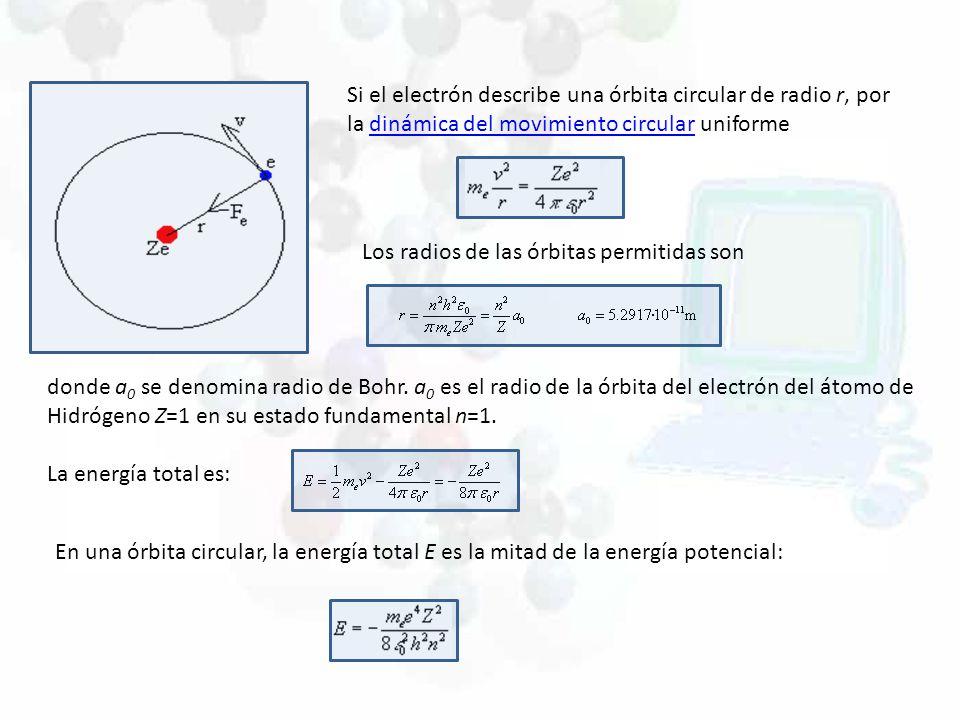 Si el electrón describe una órbita circular de radio r, por la dinámica del movimiento circular uniforme