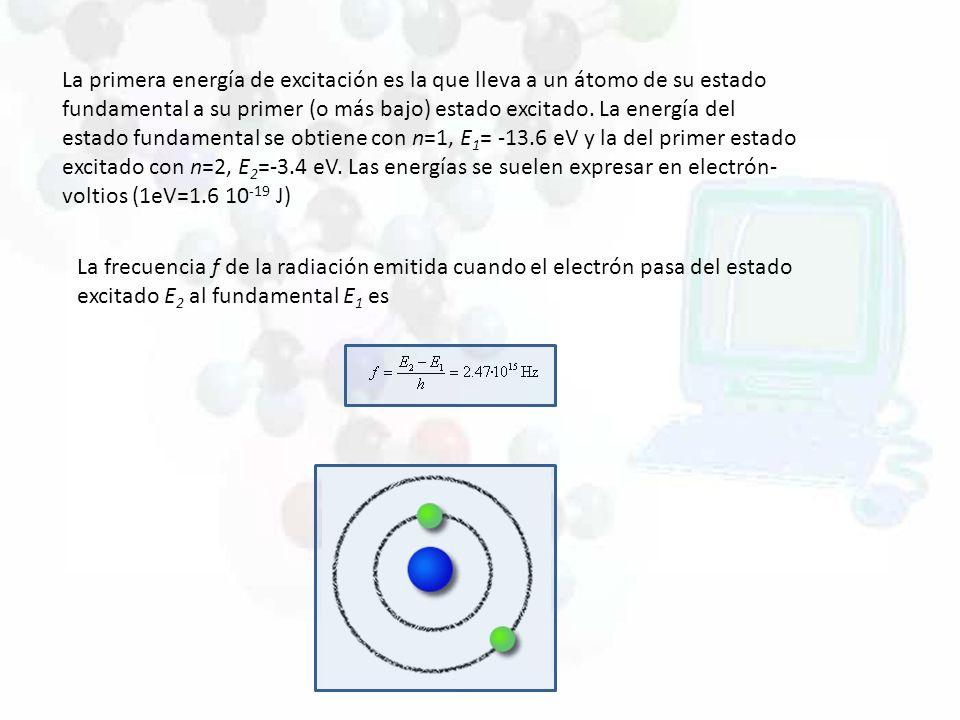 La primera energía de excitación es la que lleva a un átomo de su estado fundamental a su primer (o más bajo) estado excitado. La energía del estado fundamental se obtiene con n=1, E1= -13.6 eV y la del primer estado excitado con n=2, E2=-3.4 eV. Las energías se suelen expresar en electrón-voltios (1eV=1.6 10-19 J)