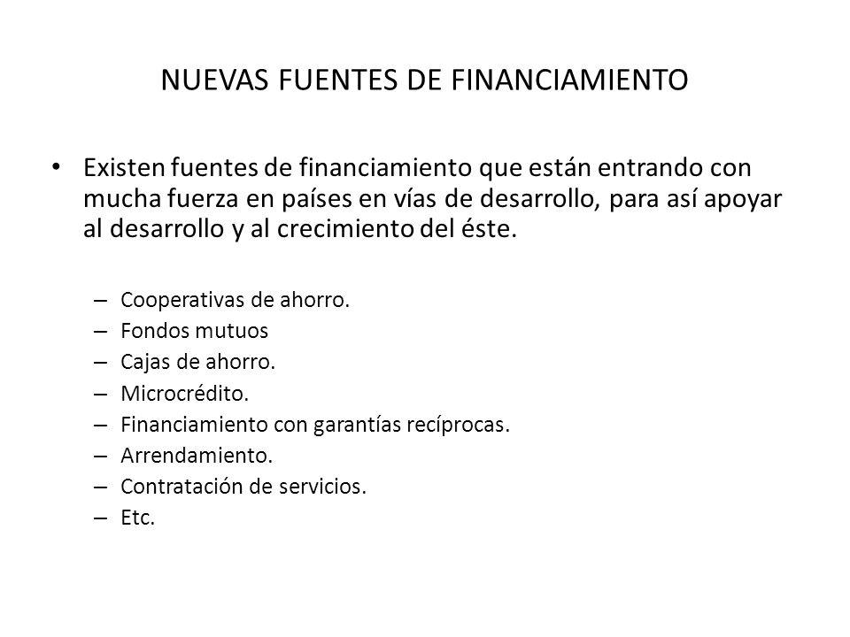 NUEVAS FUENTES DE FINANCIAMIENTO