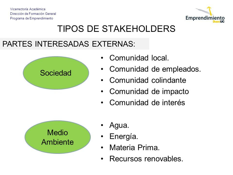 TIPOS DE STAKEHOLDERS PARTES INTERESADAS EXTERNAS: Comunidad local.