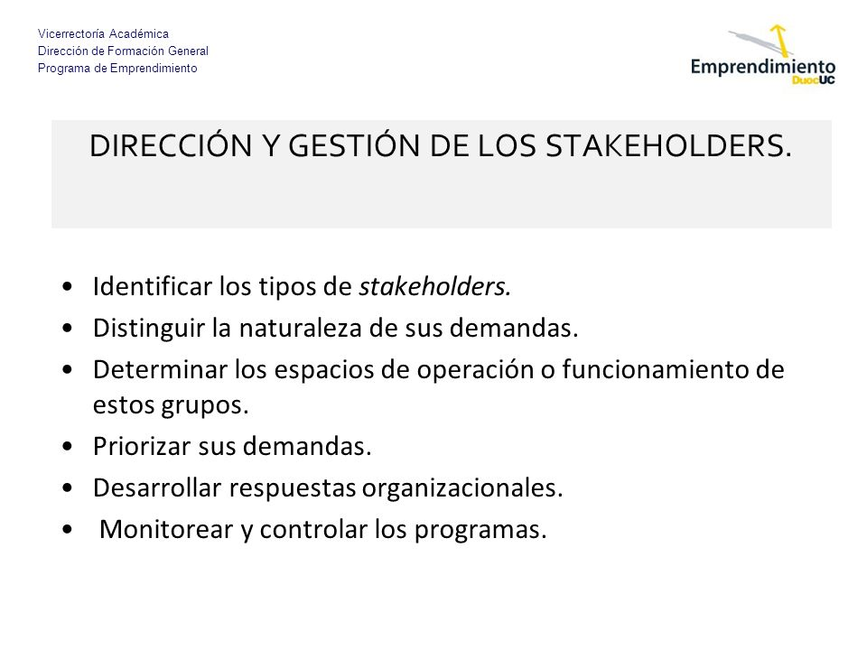 DIRECCIÓN Y GESTIÓN DE LOS STAKEHOLDERS.
