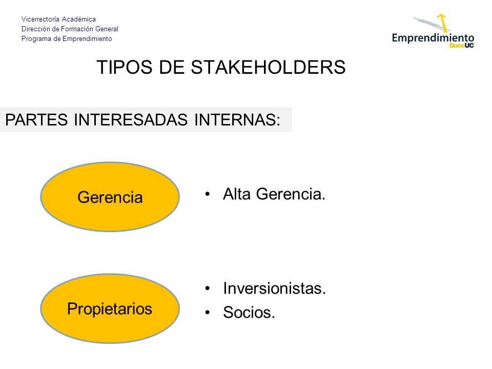 TIPOS DE STAKEHOLDERS PARTES INTERESADAS INTERNAS: Gerencia