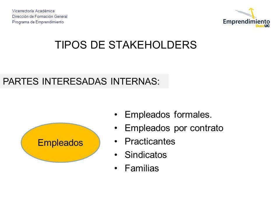 TIPOS DE STAKEHOLDERS PARTES INTERESADAS INTERNAS: Empleados formales.