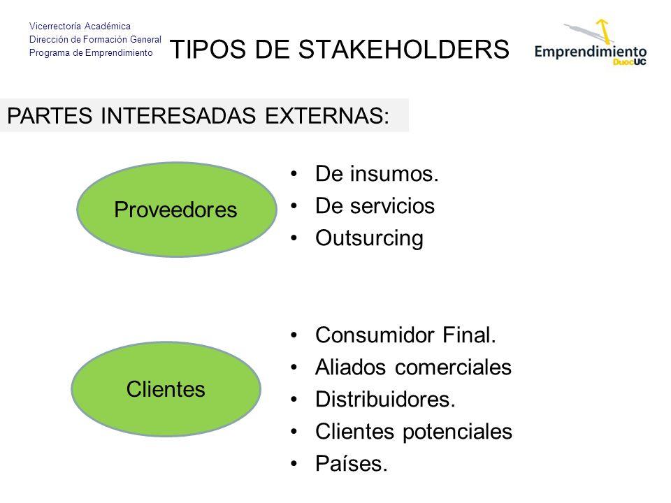TIPOS DE STAKEHOLDERS PARTES INTERESADAS EXTERNAS: De insumos.