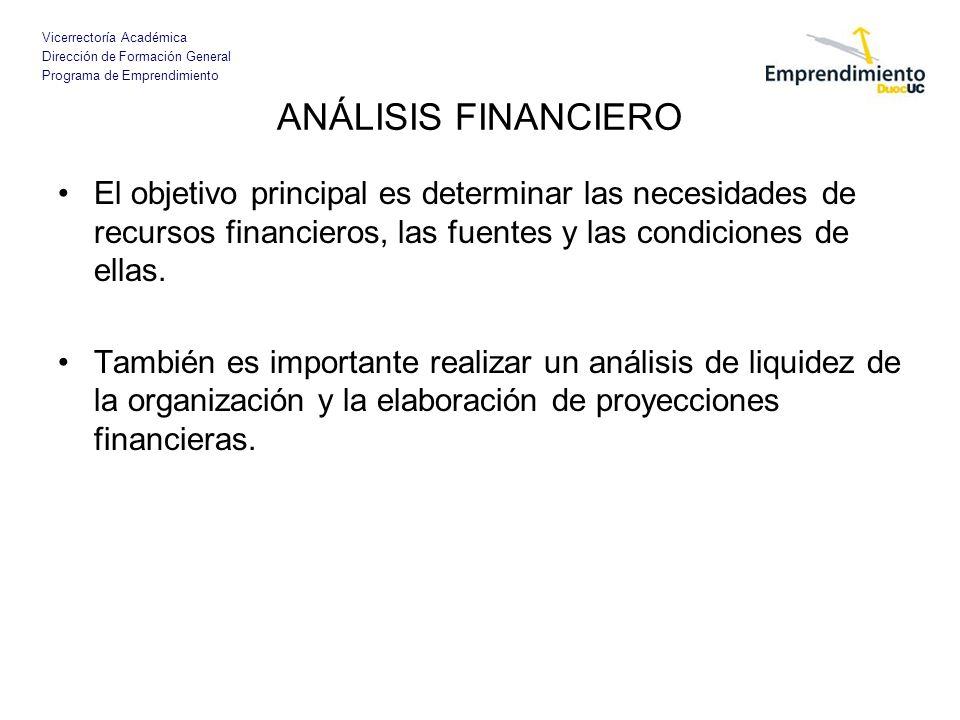 ANÁLISIS FINANCIERO El objetivo principal es determinar las necesidades de recursos financieros, las fuentes y las condiciones de ellas.