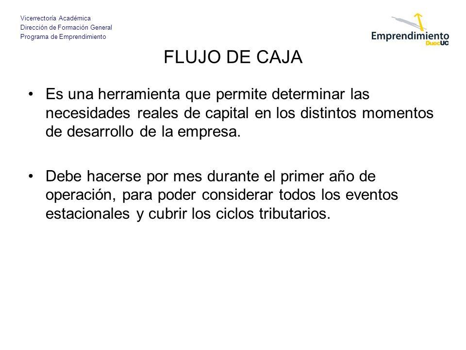 FLUJO DE CAJA Es una herramienta que permite determinar las necesidades reales de capital en los distintos momentos de desarrollo de la empresa.