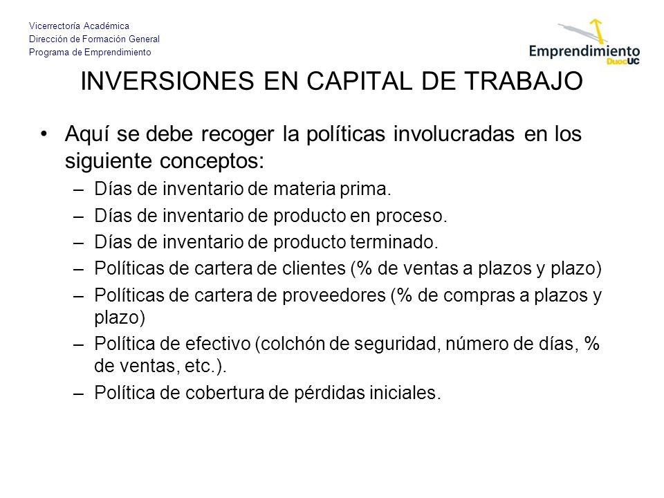 INVERSIONES EN CAPITAL DE TRABAJO
