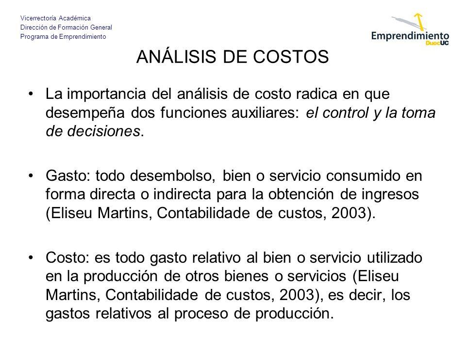 ANÁLISIS DE COSTOS La importancia del análisis de costo radica en que desempeña dos funciones auxiliares: el control y la toma de decisiones.