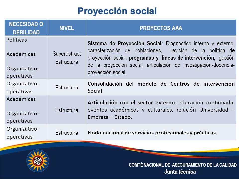 Proyección social NECESIDAD O DEBILIDAD NIVEL PROYECTOS AAA Políticas