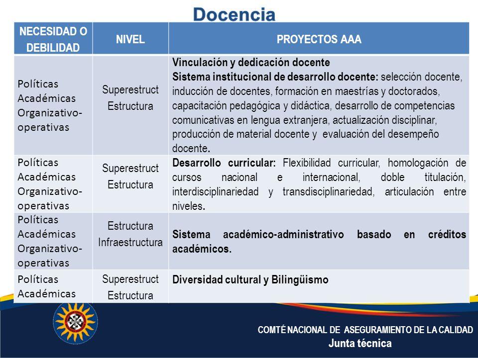 Docencia NECESIDAD O DEBILIDAD NIVEL PROYECTOS AAA Políticas
