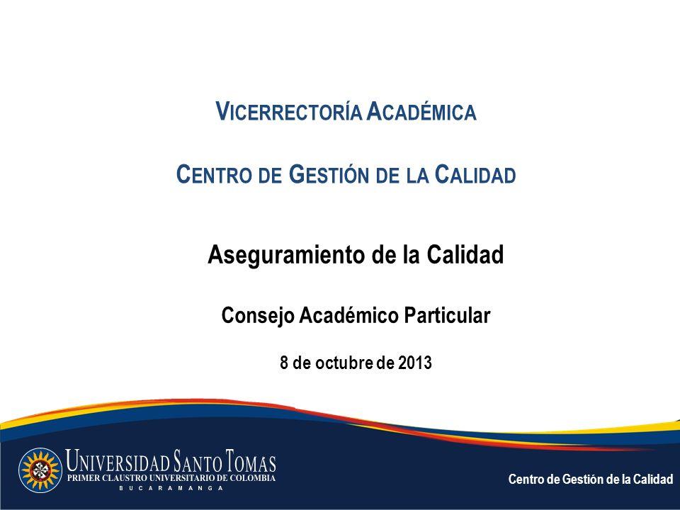 Vicerrectoría Académica Centro de Gestión de la Calidad