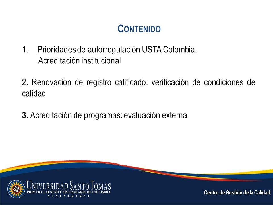 Contenido Prioridades de autorregulación USTA Colombia.