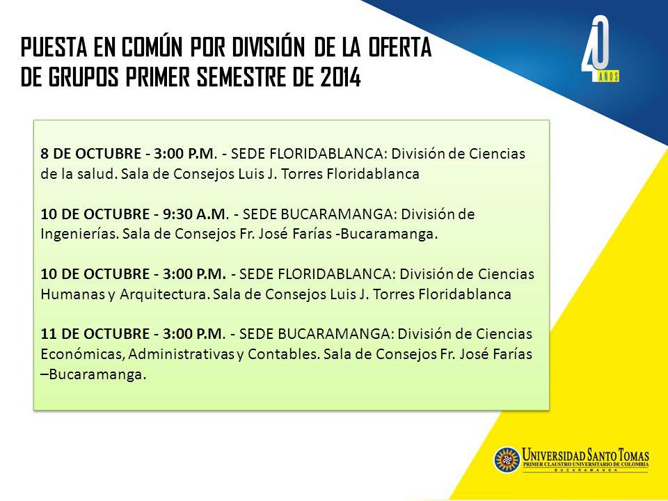 PUESTA EN COMÚN POR DIVISIÓN DE LA OFERTA DE GRUPOS PRIMER SEMESTRE DE 2014