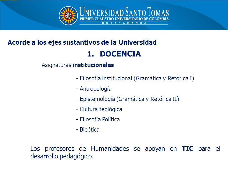 DOCENCIA Acorde a los ejes sustantivos de la Universidad