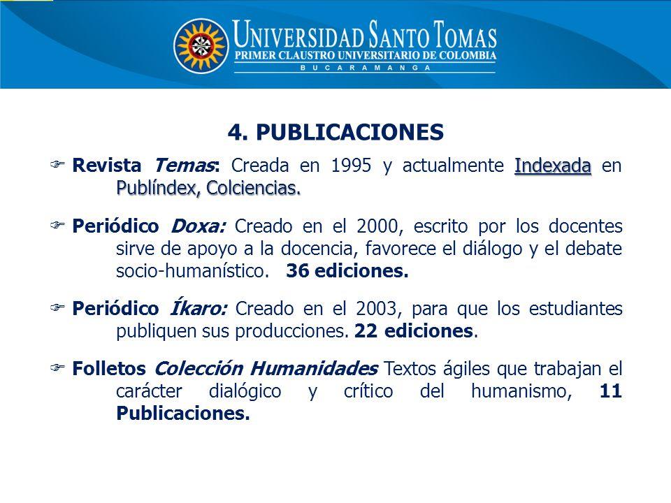 4. PUBLICACIONES Revista Temas: Creada en 1995 y actualmente Indexada en Publíndex, Colciencias.