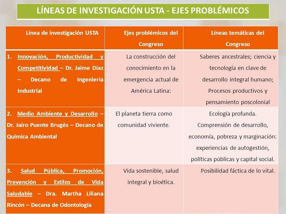 LÍNEAS DE INVESTIGACIÓN USTA - EJES PROBLÉMICOS
