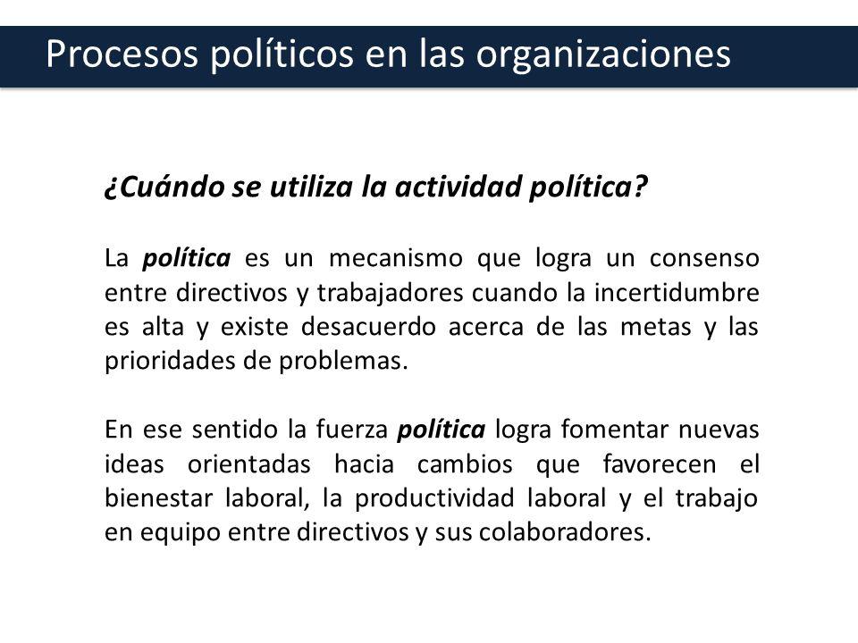 Procesos políticos en las organizaciones